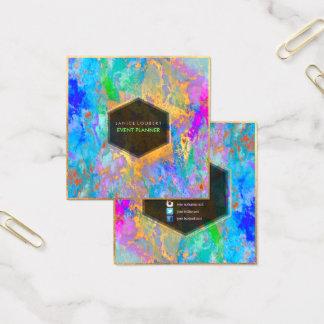 PixDezines abstrakt galax-/neonfärger Fyrkantigt Visitkort