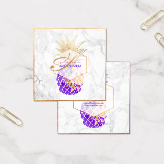 PixDezines Aloha ananas/guld/marmor Fyrkantigt Visitkort