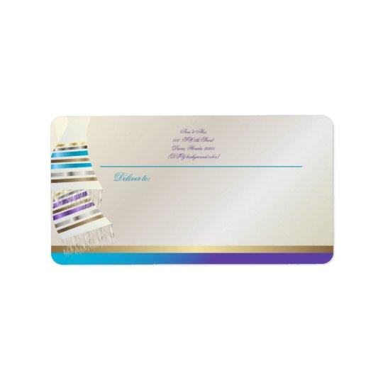 ✡PixDezines Aqua/purpurfärgade Tallits Adressetikett