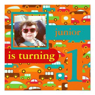 PixDezines bilar+färg för lastbilar birthday/DIY Fyrkantigt 13,3 Cm Inbjudningskort