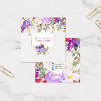 PixDezines blom- vattenfärg/vårbukett Fyrkantigt Visitkort