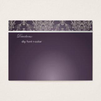 PixDezines Dolcè damast/plommon+elfenben Visitkort