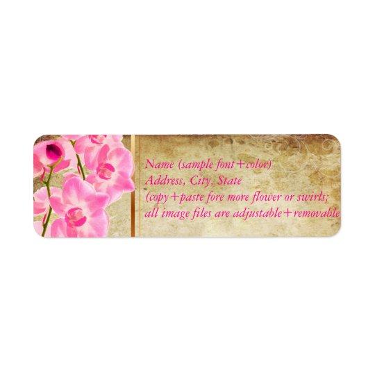 PixDezines fauxparchment/rosa konaorchid Returadress Etikett