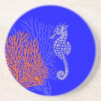 PixDezines korall+Seahorse/naturligt+koboltblått Underlägg Sandsten