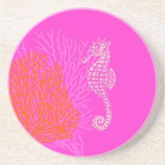 PixDezines korall+Seahorse/naturligt+shock rosa Underlägg Sandsten