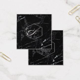 PixDezines marmor+Eleganta FauxsilverMonograms Fyrkantigt Visitkort
