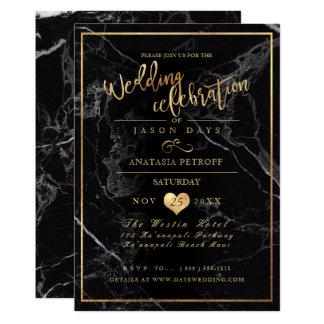 PixDezines marmor/Fauxguld/bröllopfirande 12,7 X 17,8 Cm Inbjudningskort