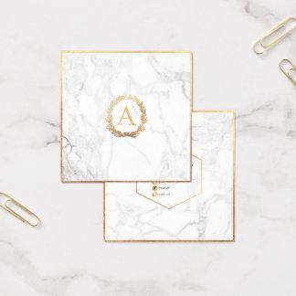 PixDezines marmor+Monogram för DIY-Fauxguld Fyrkantigt Visitkort