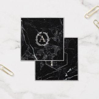 PixDezines marmor+Monogram för DIY-Fauxsilver Fyrkantigt Visitkort