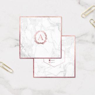 PixDezines marmor+Rosa guld- Monogram för DIY-Faux Fyrkantigt Visitkort