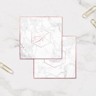 PixDezines marmor+Rosa guld- Monogram för elegant Fyrkantigt Visitkort