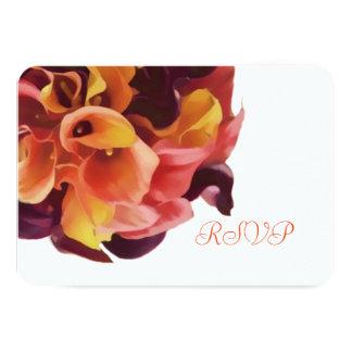 PixDezines osarosor/purpurfärgad/orange calla 8,9 X 12,7 Cm Inbjudningskort