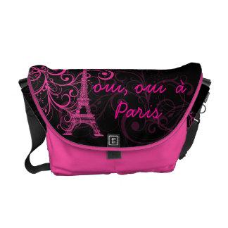 PixDezines oui, ouià Paris/diy bakgrundsfärg Messenger Bag