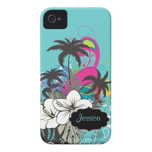 PixDezines Retro Aloha/DIY bakgrundsfärg iPhone 4 Case-Mate Fodral