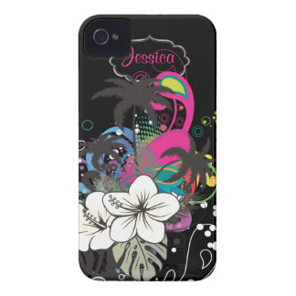 PixDezines Retro Aloha/DIY bakgrundsfärg iPhone 4 Case