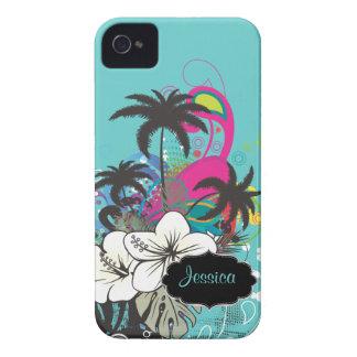 PixDezines Retro Aloha/DIY bakgrundsfärg iPhone 4 Fodraler