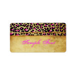 PixDezines Safari, rosa cheetah Adressetikett