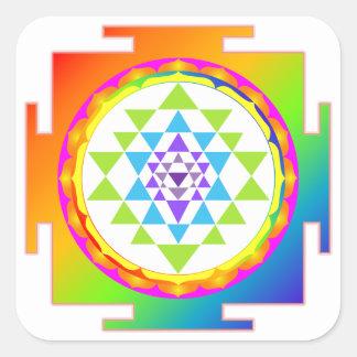 PixDezines Sri Yantra/Chakra röjning/regnbåge Fyrkantigt Klistermärke