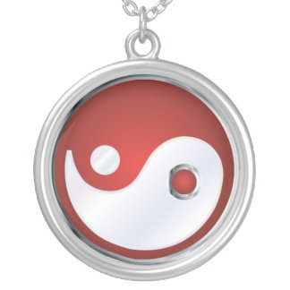 PixDezines Yin Yang, silverblått Silverpläterat Halsband