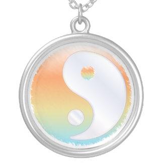 PixDezines Yin Yang, solnedgång på stranden Silverpläterat Halsband