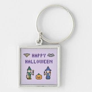 PIXELhappy halloween Fyrkantig Silverfärgad Nyckelring