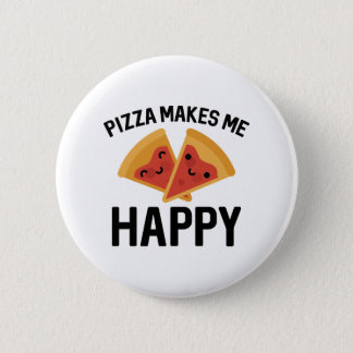 Pizza gör mig lycklig standard knapp rund 5.7 cm
