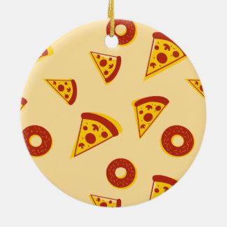Pizza och donuts julgransprydnad keramik