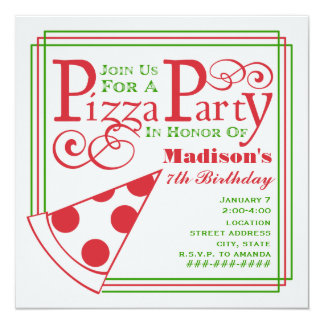 Pizzapartyfödelsedag Fyrkantigt 13,3 Cm Inbjudningskort