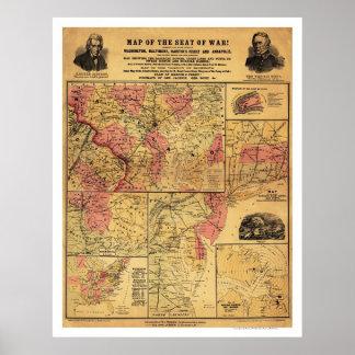 Placera av inbördeskrigkartan 1862 poster