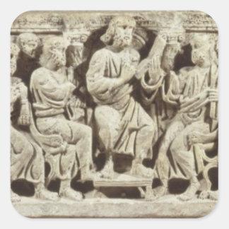 Placerad Kristus och undervisning som omges av Fyrkantigt Klistermärke