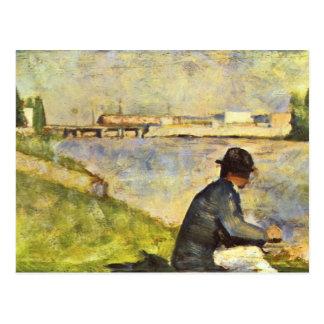 Placerad man av Georges Seurat Vykort