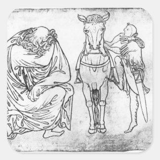 Placerad man, riddarebeslag hans häst fyrkantigt klistermärke