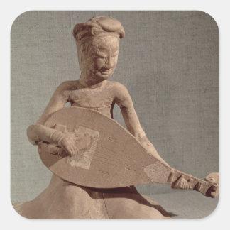 Placerad musiker som leker en lute, från fyrkantigt klistermärke