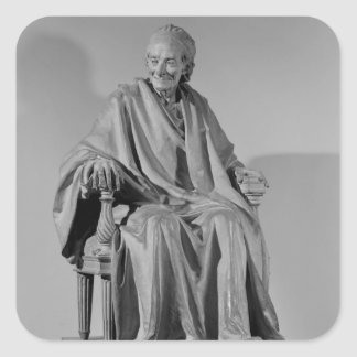 Placerad skulptur av Voltaire Fyrkantigt Klistermärke