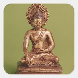 Placerade Buddha Fyrkantigt Klistermärke