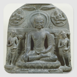 Placerade Buddha i meditation Fyrkantigt Klistermärke