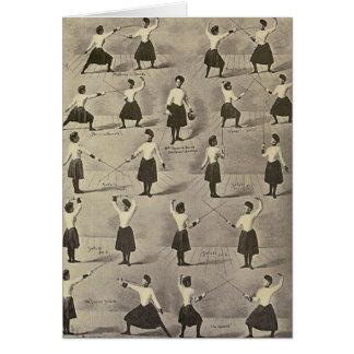 Placerar den kvinnliga fäktningen för vintage hälsningskort