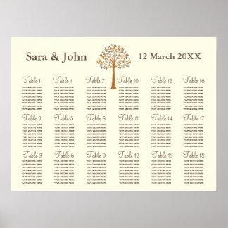 Placering för bröllop för nedgångträd kartlägger affischer