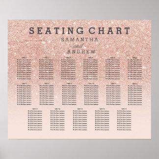 Placering för ombre för rosa guld- fauxglitter poster