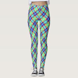 Pläd för band för blåttgröntgult purpurfärgad leggings