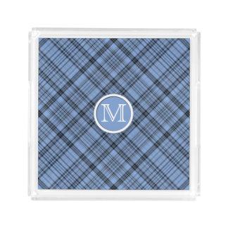 Pläd för Monogramblåklintblått Bricka