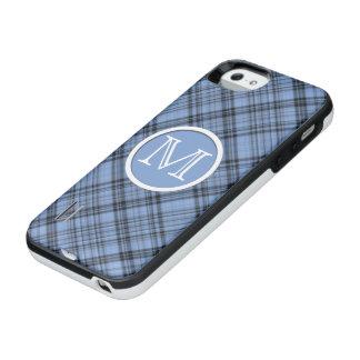 Pläd för Monogramblåklintblått iPhone SE/5/5s Batteri Skal