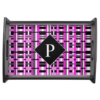 Pläd i rosa-, svart- & gråttMonogram Serveringsbricka