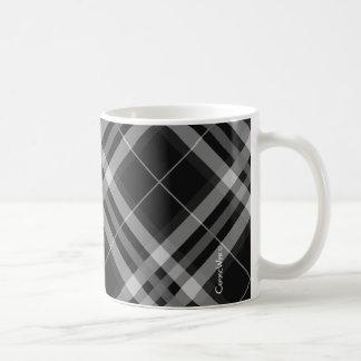 Pläd kontroller, svartvita Tartans Kaffemugg