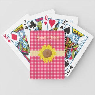 Pläd och sunflowers. för klassikerland rosa spelkort