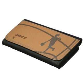 Plånbok för läder för basketflicka beställnings-