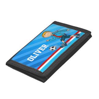 Plånbok för namn för pojkefotboll-/fotbollblått