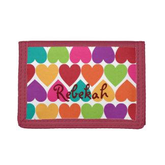 Plånbok för personlig för regnbågehjärtaflickor