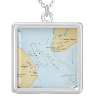 Planera av den sjö- attacken och tillfångatagandet silverpläterat halsband