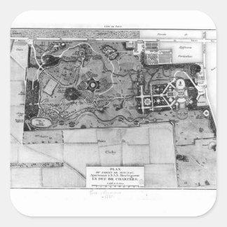 Planera av Parc Monceau i Paris Fyrkantigt Klistermärke